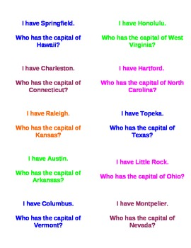 I Have Who Has States & Capitals
