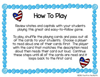 I Have, Who Has? States & Capitals Game
