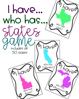 I Have. Who Has. States Game