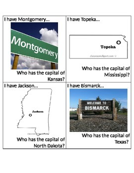 I Have... Who Has... States and Capitals