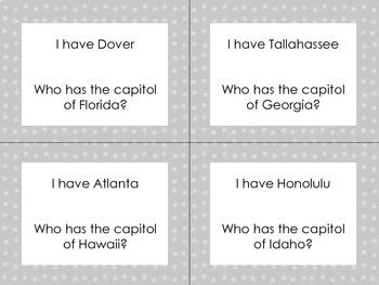 I Have, Who Has?... States and Capitals Edition