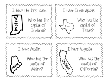 I Have Who Has- States and Capitals Edition