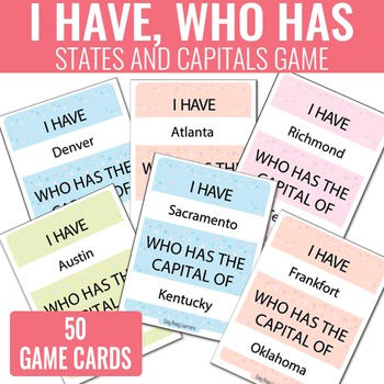 I Have, Who Has States and Capitals Game