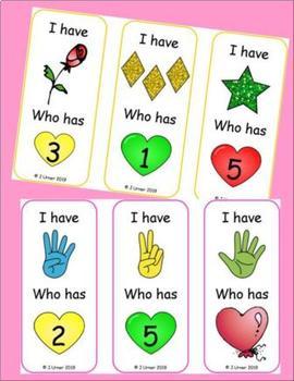 I Have. Who Has? Subitizing 1-5 Bundle (Valentine's Day)
