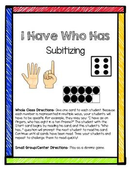 I Have, Who Has - Subitizing