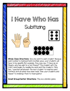 I Have, Who Has - Subitizing