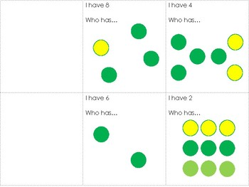 I Have Who Has - Subitizing Dots to 10