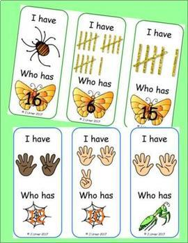 I Have. Who Has? Subitizing 0-20 (Insects/Bugs)