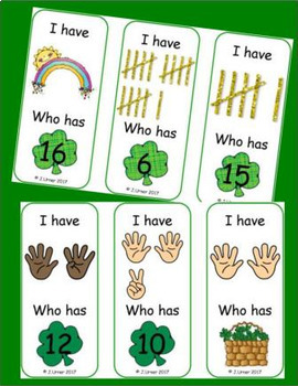 I Have. Who Has? Subitizing 0-20 (St. Patrick's Day)