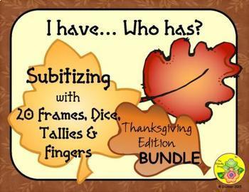 I Have. Who Has? Subitizing 0-20 Bundle (Thanksgiving)