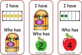 I Have. Who Has? Subitizing with 5 Frames (Back to School)