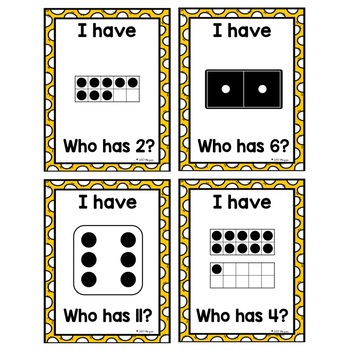 I Have, Who Has-Subitizing with Dice, Dominoes, & 10 Frames