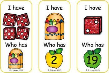 I Have. Who Has? Subitizing with Dice to 20 (Back to School)