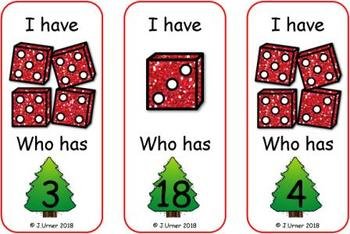 I Have. Who Has? Subitizing with Dice to 20 (Christmas)