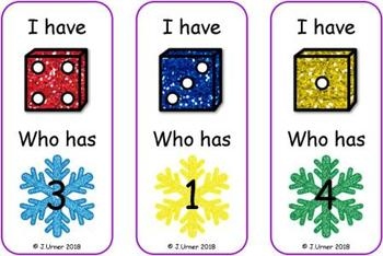 I Have. Who Has? Subitizing with Dice to 5 (Winter)