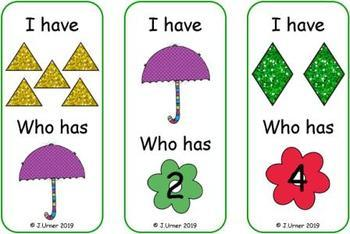 I Have. Who Has? Subitizing with Shapes to 5 (Spring)