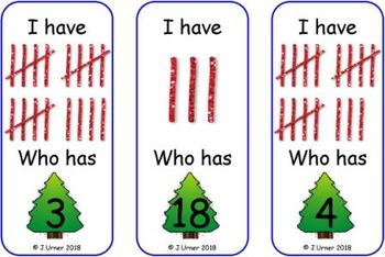 I Have. Who Has? Subitizing with Tallies to 20 (Christmas)