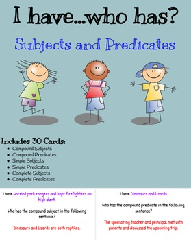 I Have Who Has Subjects and Predicates Review