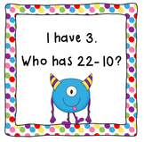 I Have, Who Has Subtract 10-CCSS Aligned