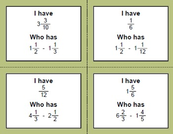 I Have, Who Has - Subtracting Mixed Fractions