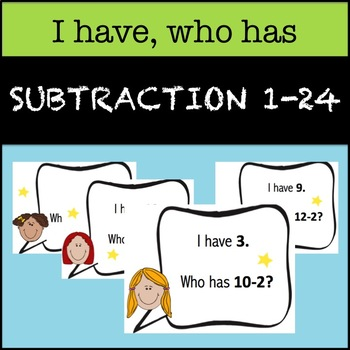 """""""I Have, Who Has"""" Subtraction 1-24"""