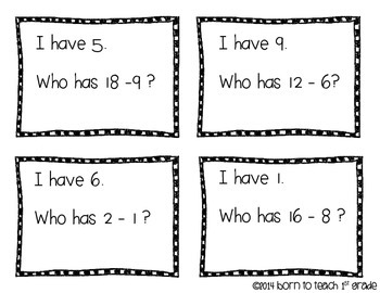 I Have, Who Has? Subtraction Doubles