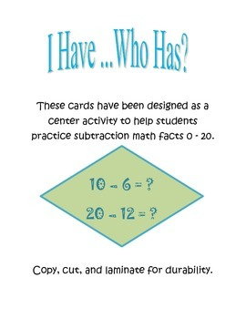 I Have, Who Has Subtraction Facts 1 - 20 for Centers, DIY's, and Daily 5