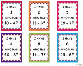 I Have Who Has Subtraction Facts By Lauramiller Tpt