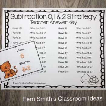 I Have, Who Has? Subtraction Facts - Subtract Zero, One & Two