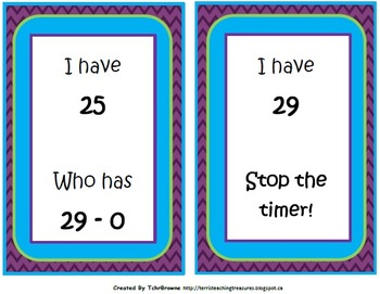I Have Who Has - Subtraction Facts to 30