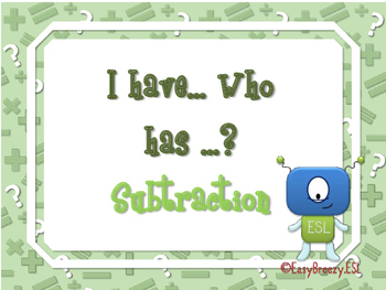 I Have, Who Has ? Subtraction Game (48 cards)