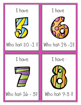 I Have Who Has - Subtraction Game to 20
