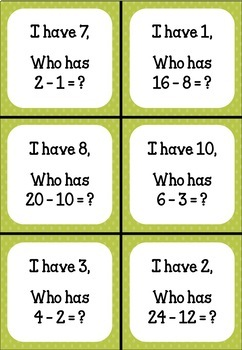I Have, Who Has - Subtraction, Less than 50 (Doubles)