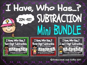 I Have Who Has Game: Subtraction Mini BUNDLE