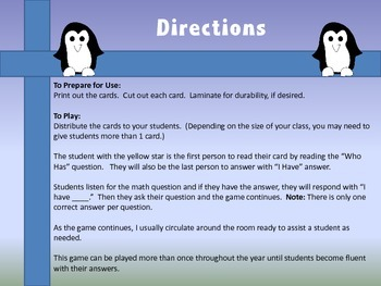 I Have, Who Has..? Subtraction: Penguin Fun