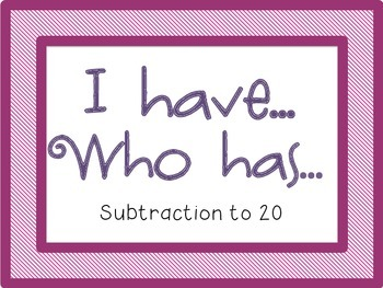 I Have Who Has {Subtraction to 20}