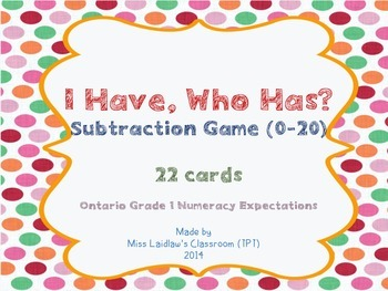 I Have, Who Has? - Subtraction with Answers 0 to 20 {Ontario Grade 1 Numeracy}