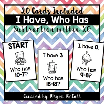 I Have, Who Has--Subtraction within 20 (20 Cards Included)
