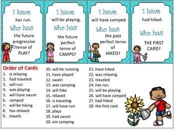 I Have, Who Has Summer Verbs: Simple, Progressive, Perfect Tenses