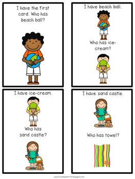 First Grade Vocabulary: I Have, Who Has: Summer