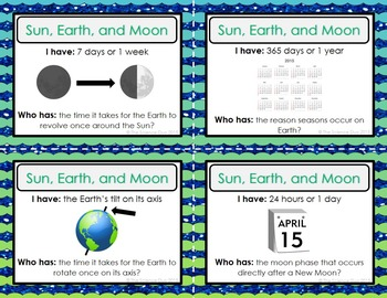 Sun, Earth, and Moon Activity - I Have, Who Has?