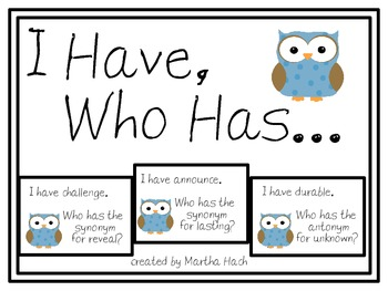 I Have Who Has Synonym & Antonym Game - with owls!