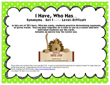 I Have, Who Has... - Synonyms (Set 1, Level Difficult)