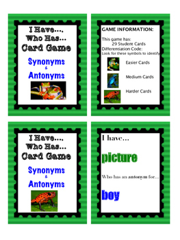 Differentiated I Have... Who Has... Synonyms and Antonyms
