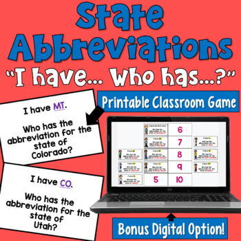 State Abbreviations I Have Who Has Game