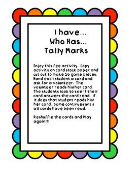 I Have.. Who Has.. Tally Marks