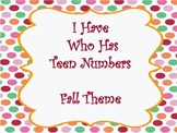 I Have Who Has Teen Numbers