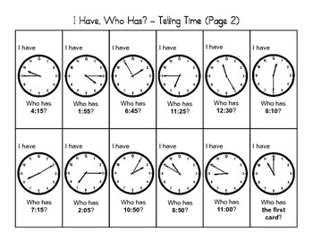 """""""I Have, Who Has"""" - Telling Time (2nd Grade)"""