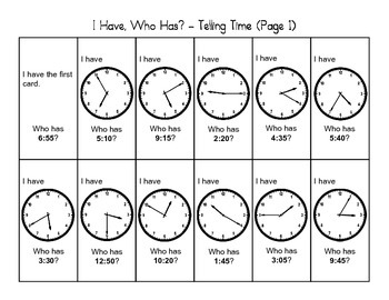 """I Have, Who Has"" - Telling Time (2nd Grade)"