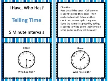 I Have Who Has Telling Time -- 5 Minute Intervals